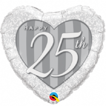 "Happy 25th Damask Foil Balloon (18"") 1pc"